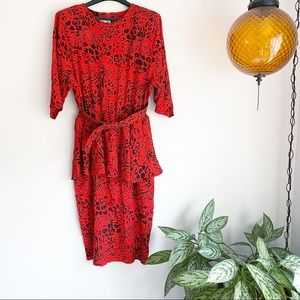 Vintage Leopard Print 80's Belted Peplum Dress